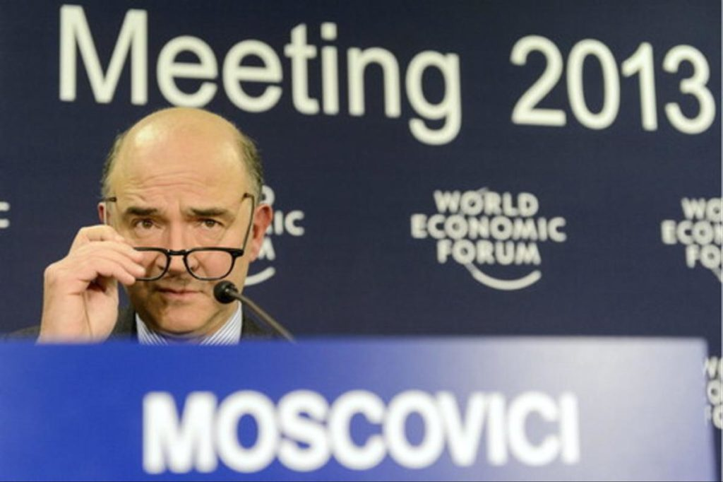 "Pierre Moscovici, Minister of Economy and Finance of France speaks during a press conference during the 43rd Annual Meeting of the World Economic Forum, WEF, in Davos, Switzerland, Friday, January 25, 2013. The overarching theme of the meeting, take place from 23 to 27 January, is ""Resilient Dynamism"". (KEYSTONE/Laurent Gillieron)"