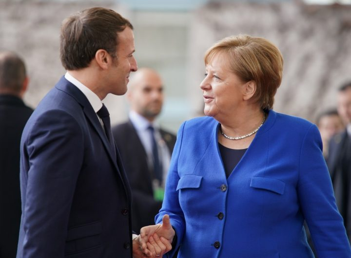 19 January 2020, Berlin: Federal Chancellor Angela Merkel (CDU) receives Emmanuel Macron, President of France, in front of the Federal Chancellery for the Libya Conference. The aim of the conference is a lasting ceasefire in the civil war country. Photo: Kay Nietfeld/dpa (MaxPPP TagID: dpaphotosfour346359.jpg) [Photo via MaxPPP]