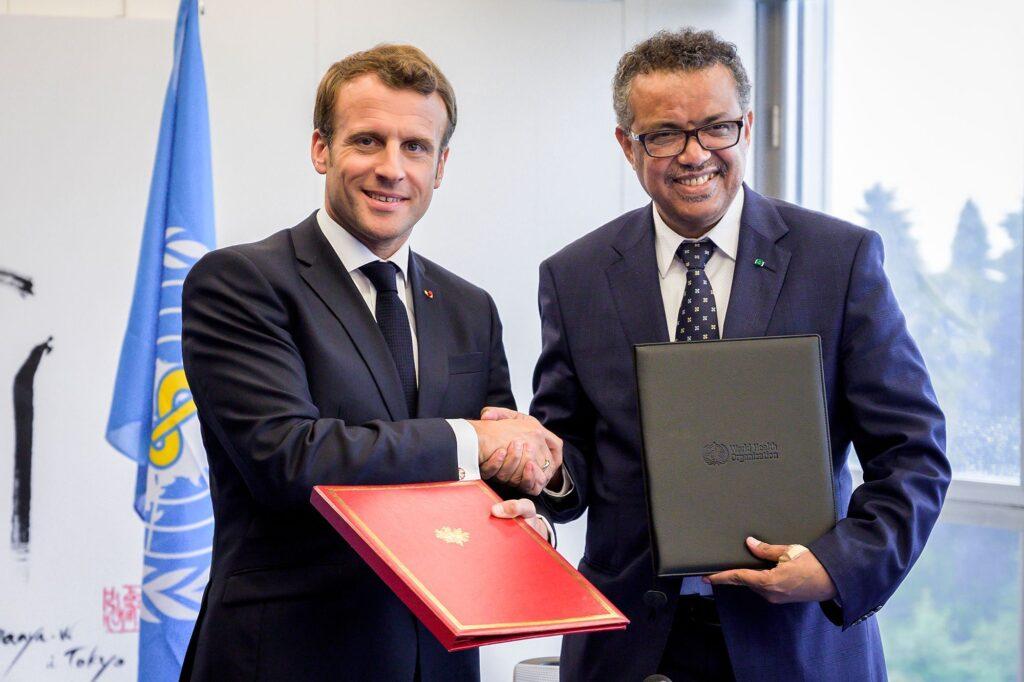 Emmanuel Macron et Tedros Adhanom Ghebreyesus, directeur général de l'OMS, lors d'une rencontre en juin 2019