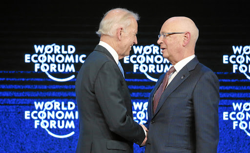 DAVOS/SWITZERLAND, 20JAN16 -Joseph R. Biden Jr (L), Vice-President of the United States of America shakes hands with Klaus Schwab, Founder and Executive Chairman, World Economic Forum at the special addresse at the Annual Meeting 2016 of the World Economic Forum in Davos, Switzerland, January 20, 2016.    WORLD ECONOMIC FORUM/swiss-image.ch/Photo Remy Steinegger